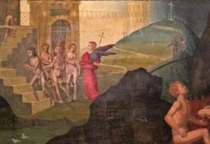 Oddone Pascale - Polittico della Trinità - le anime purganti - lato sx del pannello centrale